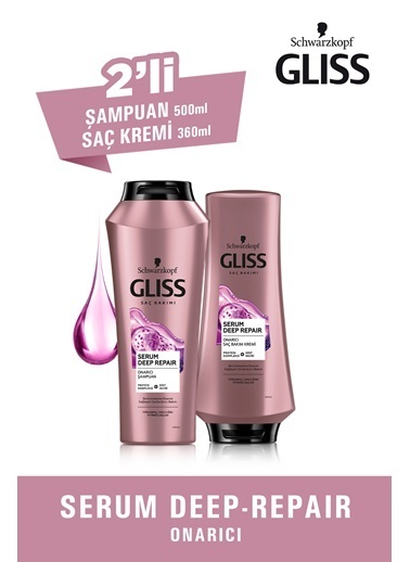 Gliss Serum Deep Repair Derinlemesine Onarım Seti (şampuan 360 Ml + Saç Kremi 360 Ml) Renksiz